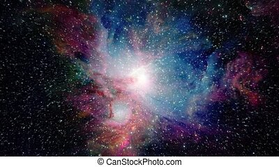 Traveling Towards Beautiful Galaxy - Flying through space...