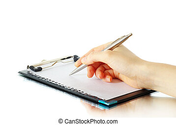pen in hand - Hand and pen on the white background