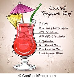 The Singapore Sling cocktail isolated on light background