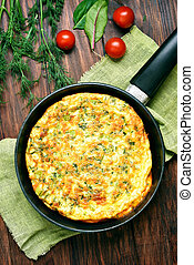Omelette in frying pan, top view - Omelette in frying pan on...