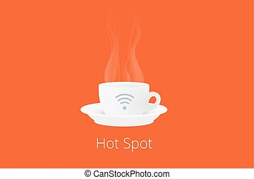 Cup of coffee with wi-fi icon - White cup of coffee with hot...