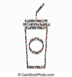 people shape soda Icon - A group of people in the shape of...