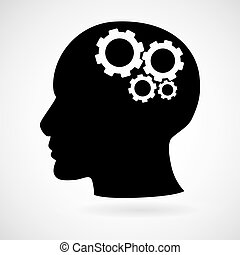 Head with gears icon isolated on white background, vector...