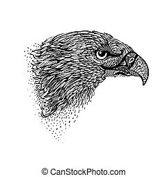 Hand-drawn Eagle - Stylized Head of Eagle. Hand Drawn Doodle...