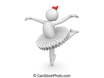 Ballerina dancing in tutu - 3d characters isolated on white...