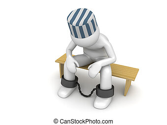 Prisoner on a bench - 3d characters isolated on white...