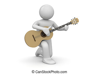 Street guitarist - 3d characters isolated on white...