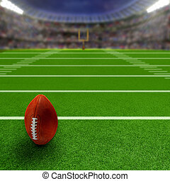 Football Stadium With Football and Copy Space - American...