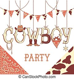 Cowboy party text. Background isolated on white for design -...