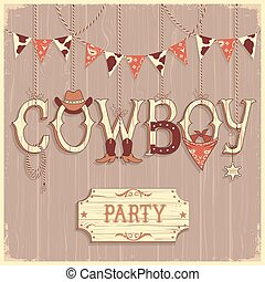 Cowboy party text background