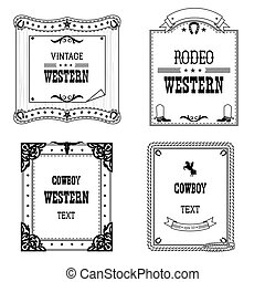 Set of labels and frames in Western style isolated for...
