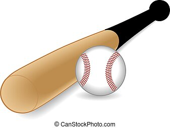 Baseball bat with baseball