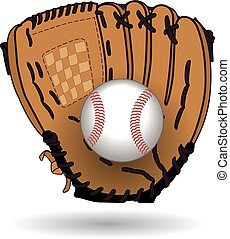 Baseball glove with ball - brown leather baseball glove...