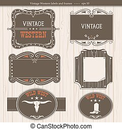 Western labels. Antique frames for design