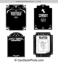 Set of Western backgrounds. Black graphic labels isolated on white