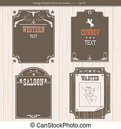 set of Western backgrounds. Back graphic labels isolated on white