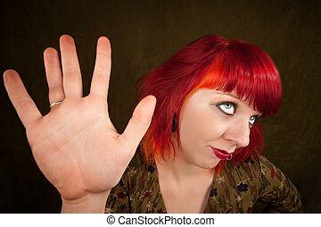 Punky Girl with Red Hair - Pretty punky girl with brightly...