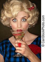 Pretty Retro Blonde Woman with Martini - Pretty retro blonde...