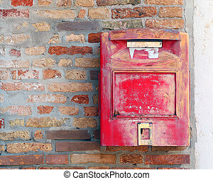 red mailbox where to mail letters and postcards - huge...