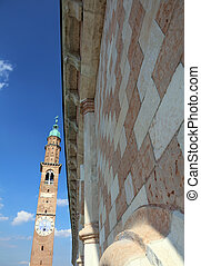 ancient clock tower of the Palladiana Basilica in Vicenza...