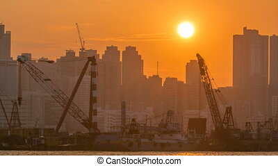 Hong Kong Sunset, View from kowloon bay downtown timelapse