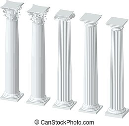 three-dimensional image of architectural columns with...