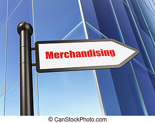 Advertising concept: sign Merchandising on Building background