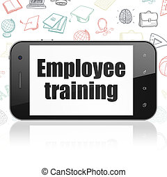 Studying concept: Smartphone with Employee Training on display