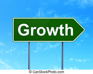 Business concept: Growth on road sign background