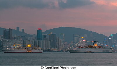 Hong Kong day to night, View from kowloon bay downtown timelapse