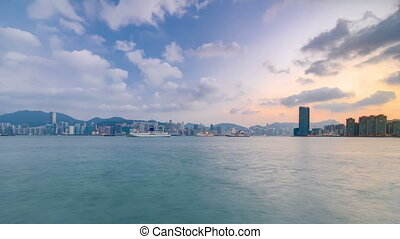 Hong Kong day to night, View from kowloon bay downtown...