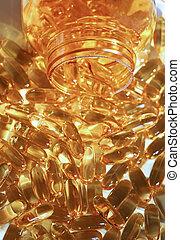 Yellow gel capsules