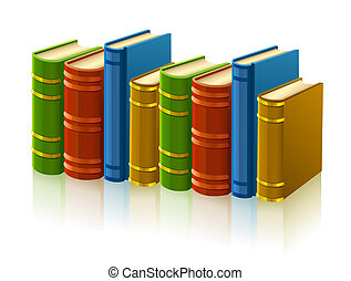 group of different books with empty cover illustration,...
