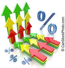 Percentage with arrows pointing up financial growth concept...