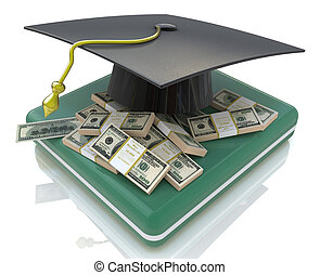 graduation cap on US money - education costs in the design...