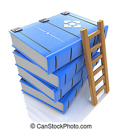 A ladder on stack of books. 3d in the design of the...