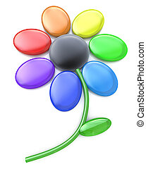 Rainbow Flower - Multi Colored Petals of Daisy Flower in the...