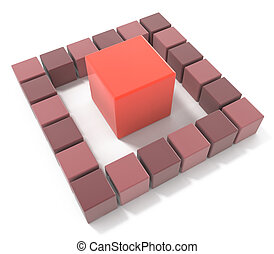 bright red cube leadership concept in the design of the...