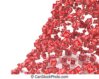 Falling red cubes with percent isolated on white background...