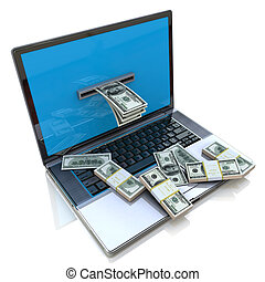 making money online - withdrawing dollars from laptop in the...