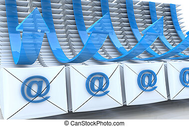 E-mail envelopes and arrows background in the design of the...