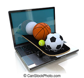 Laptop and sports balls