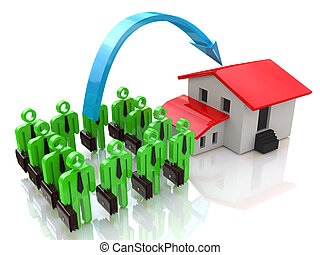 Team of businessmen and a house - real estate investment