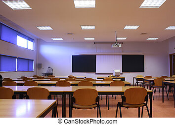 classroom - flat Empty classroom on a university campus