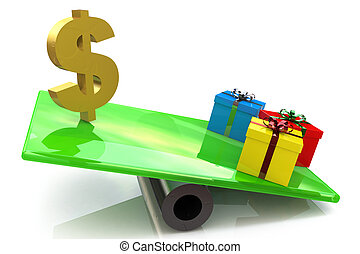 Christmas gifts marketing concept in the design of the...