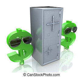Security dollar symbol and Banking safe