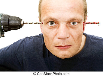 Drill through head - Conceptual image of a man, drilling...