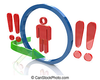 3d people - man, person and a red exclamation mark