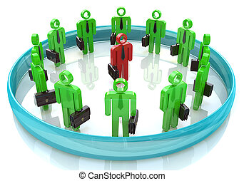 3d team leader boss company teamwork in the design of...