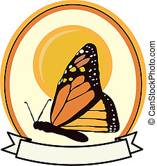 Colorful Monarch Butterfly badge banner ad vector
